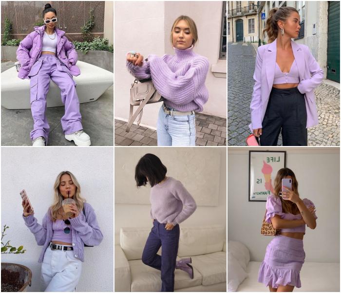 outfits diferentes en color morado para las chicas libra