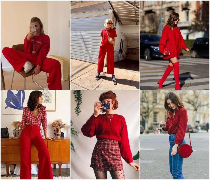 diferentes outfits de color rojo para las chicas aries