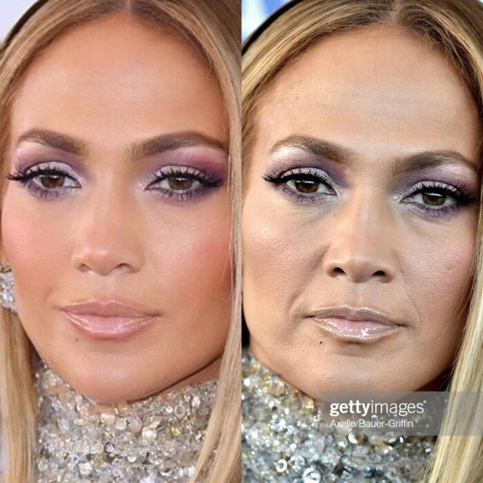 Jennifer Lopez en una comparación de la realidad vs los filtros que usa en su cuenta de Instagram