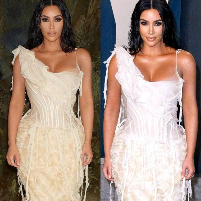 Kim Kardashian en una comparación de la realidad vs los filtros que usa en su cuenta de Instagram