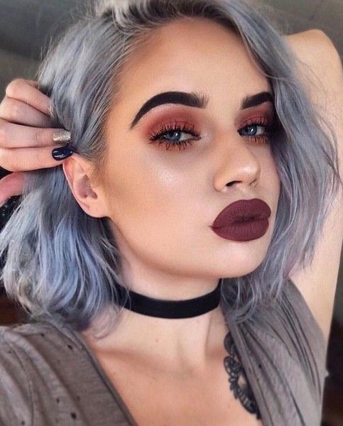 Short gray hair girl with burgundy lipstick and smokey eye with red shadow