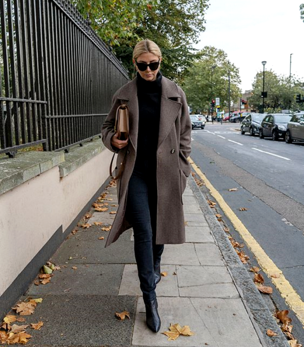 blonde girl wearing sunglasses, black sweater, long beige coat, black skinny jeans, black fur ankle boots and beige handbag