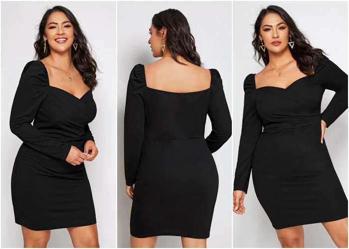 curvy brown hair girl wearing black dress with long sleeves, square neckline