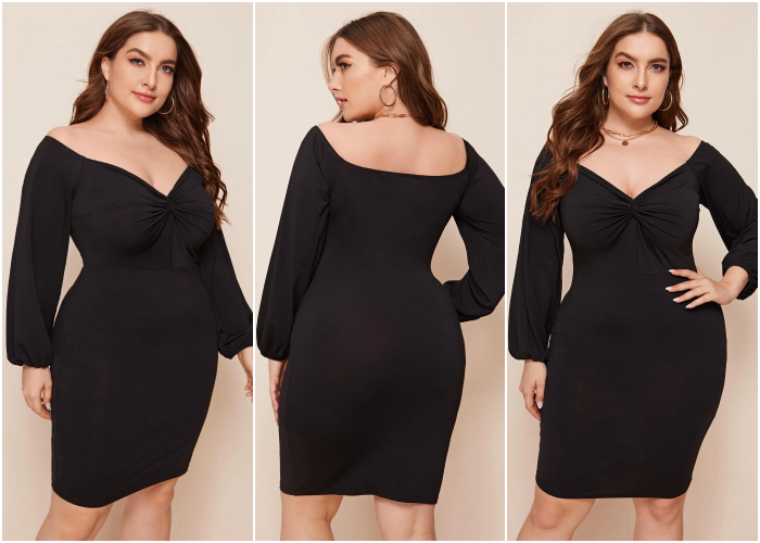 curvy brown haired girl wearing off shoulder black dress with long sleeves and V neckline