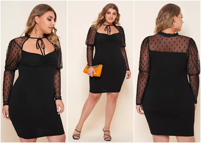 curvy blonde girl in black dress with semitransparent sleeves and bow at neckline, orange handbag and high-heeled sandals