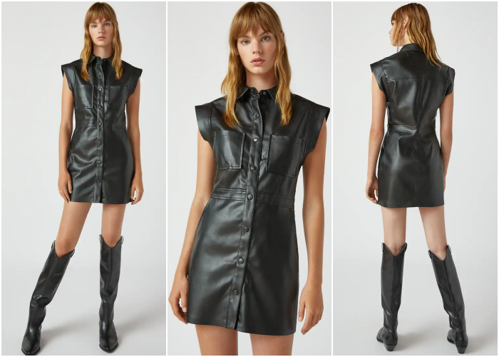 blonde girl wearing sleeveless leather dress with button closure and long black leather boots with heel