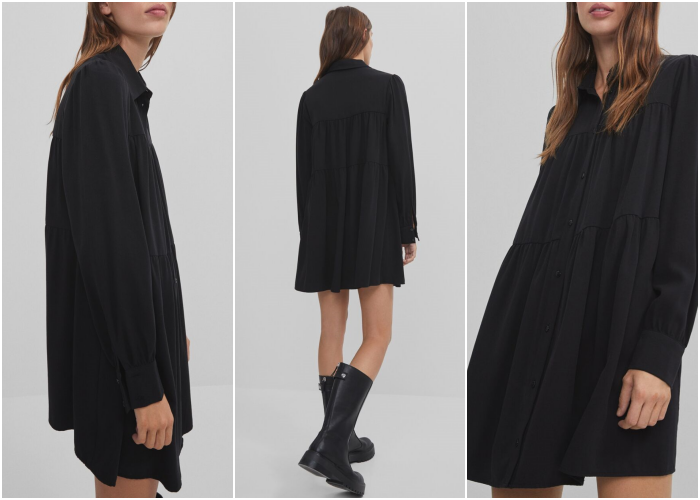 brown haired girl wearing long sleeve black dress with thick soled black ankle boots