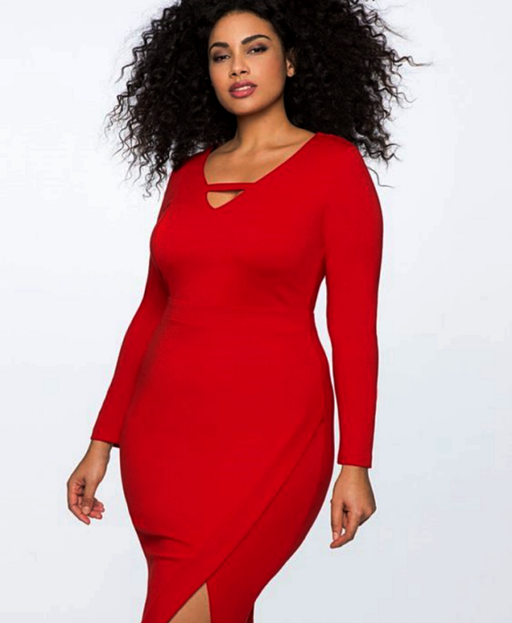 Chinese hair curvy girl wearing red dress with V neckline, long sleeves, fitted to the waist with leg opening