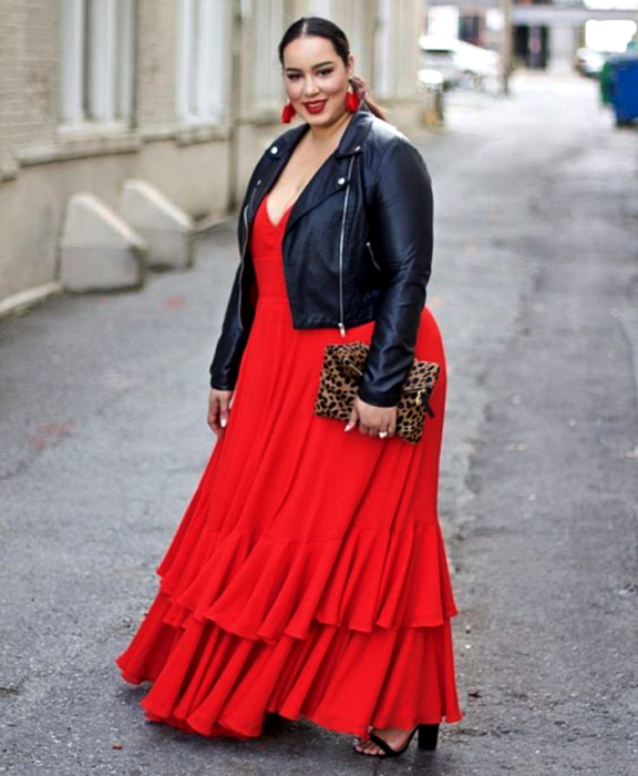 curvy girl wearing long red dress, V neck, with black denim jacket, animal print handbag, black high heel sandals