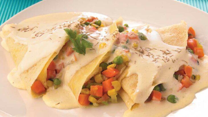 Crepas al estilo primavera, rellenas de verduras; recetas con crepas