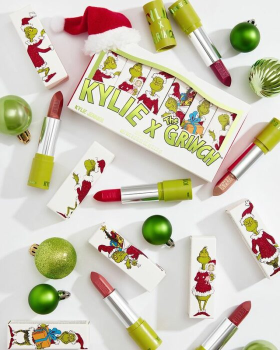 Different colored lipsticks from the 'Kylie x The Grinch' collection
