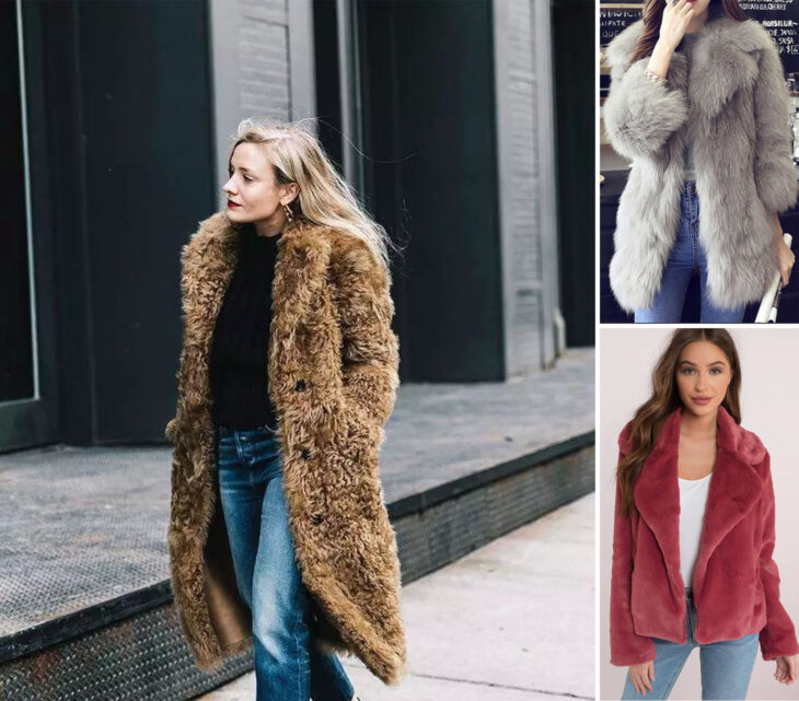 Collage of images of girls wearing outfits where the furry coat stands out