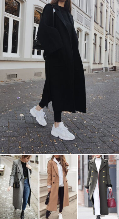 Collage of images of girls wearing outfits where long coats stand out