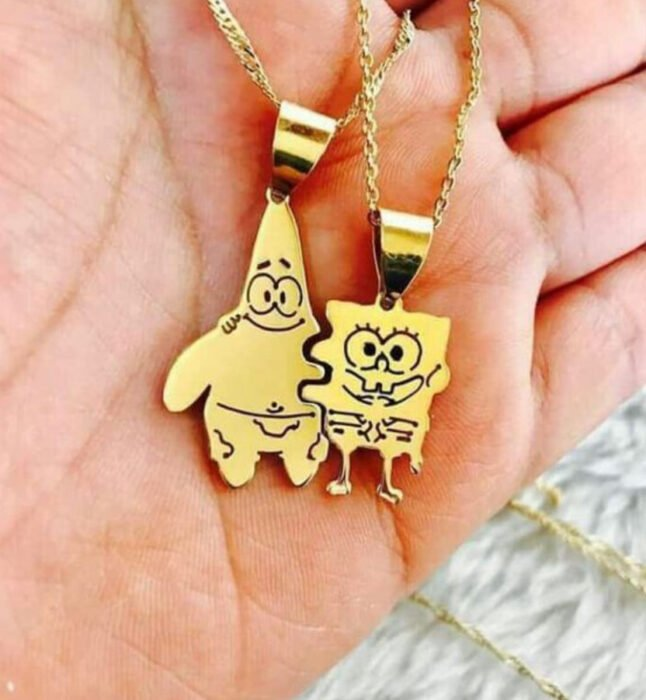 Friendship necklaces in gold with SpongeBob and Patrick charms