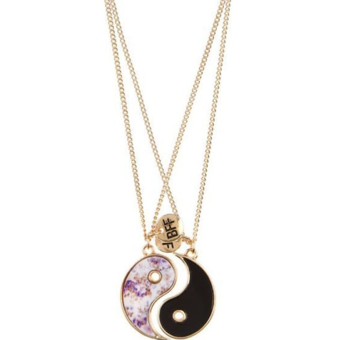Friendship necklaces, ying and yang, in golden chain