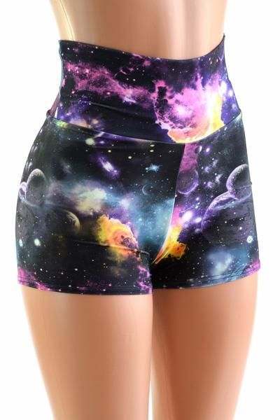 Shorts para hacer ejercicio con estampado de galaxia