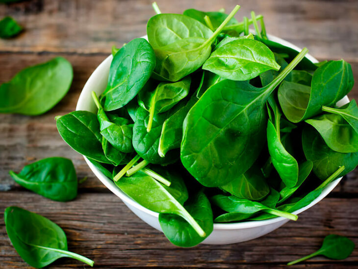 White bowl with spinach