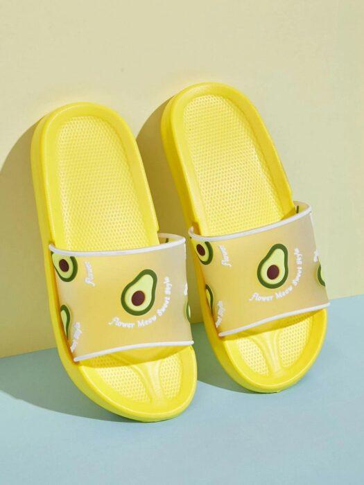 Sandalias para baño decoradas con aguacates; Artículos para las chicas que aman el aguacate