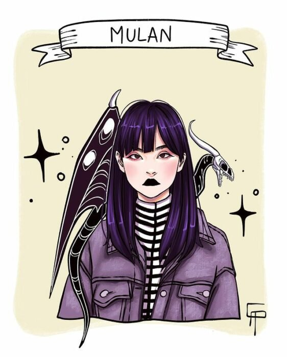 Ilustración de Gigis_Lab, Mulán, princesa Disney como chica centennial