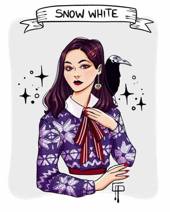 Ilustración de Gigis_Lab, Blancanieves, princesa Disney como chica centennial