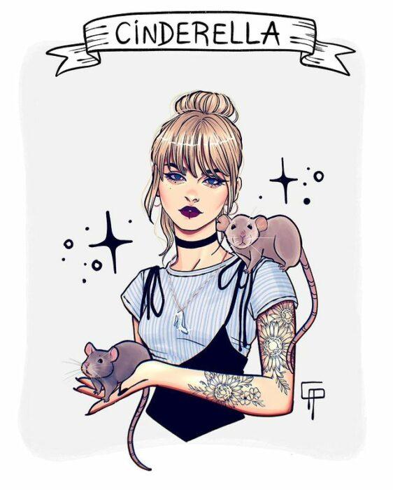 Ilustración de Gigis_Lab, Cenicienta princesa Disney como chica centennial