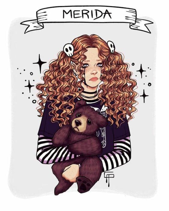 Ilustración de Gigis_Lab, Mérida princesa Disney como chica centennial