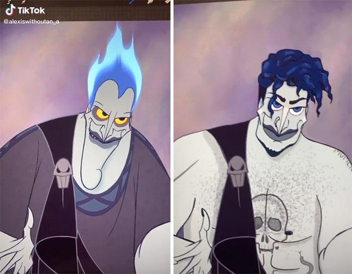 Hades en su versión gótica, ilustrada por Lexis Vanhecke; personajes Disney en una versión gótica y oscura