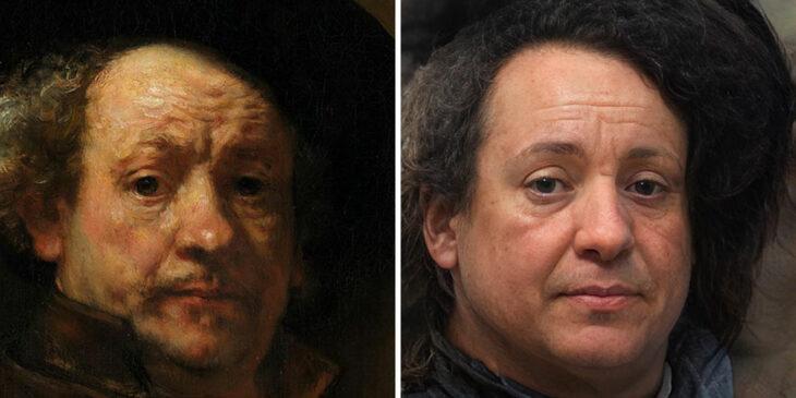 Autorretrato del pintor Rembrandt transformado en humano por AI