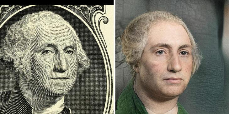 George Washington transformado en humano por medio de AI
