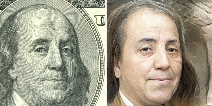 Benjamin Franklin transformado en humano por AI