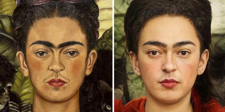 Pintura de Frida Kahlo transformada en humana por medio de AI