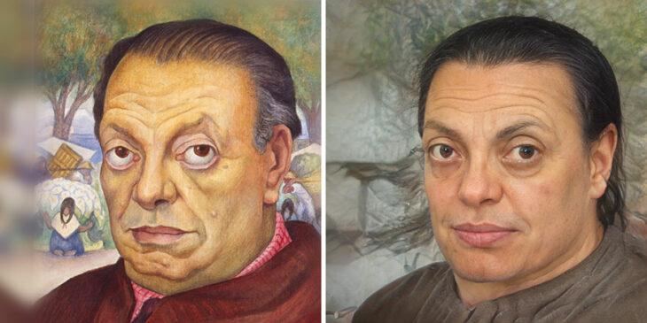 Pintura de Diego Rivera transformada en humano por medio de AI