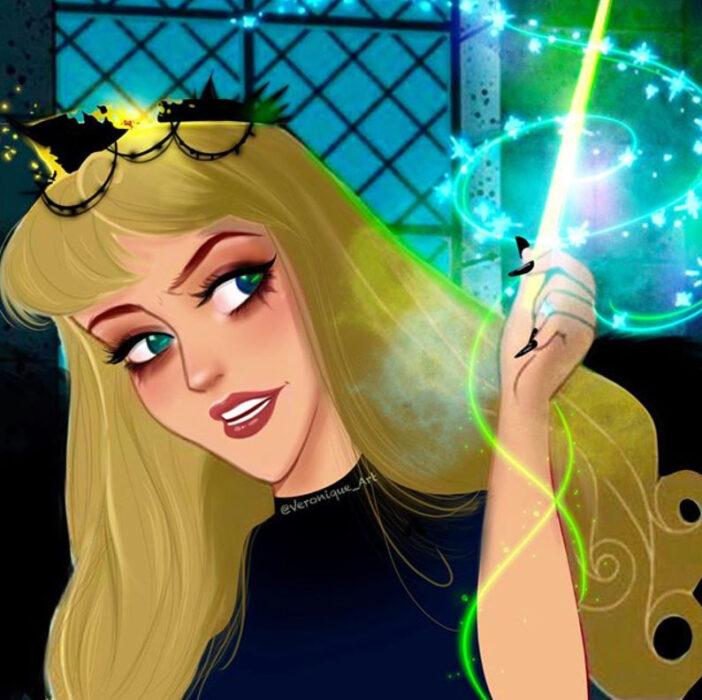 Princesa Aurora con atuendo de villana