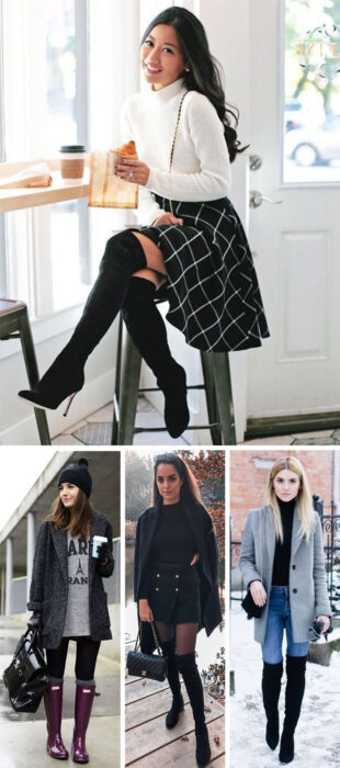Collage of images of girls wearing outfits where long boots stand out in winters