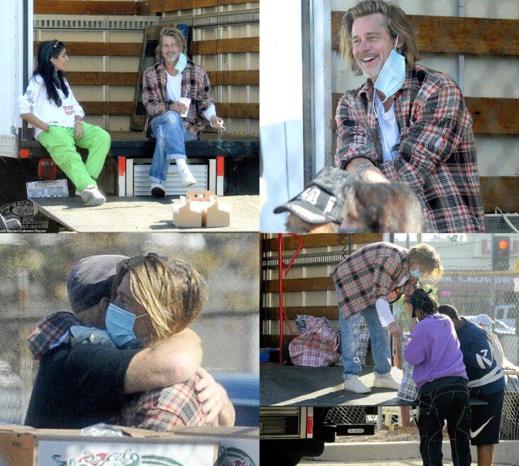 Brad Pitt sonriendo, charlando con una chica, abrazando a un hombre y entregando comida a personas de bajos recursos