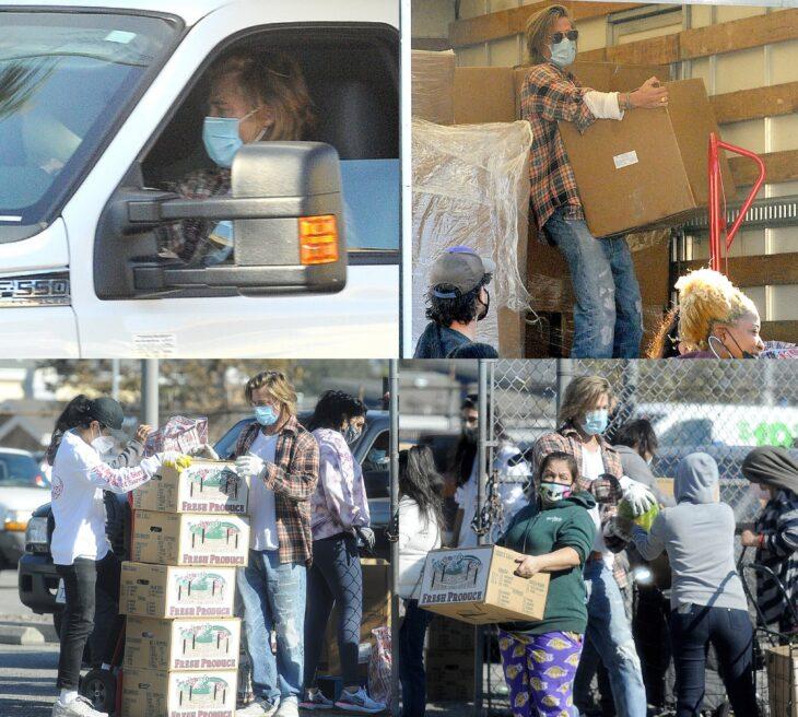Brad Pitt manejando, cargando cajas y entregando comida a personas de bajos recursos