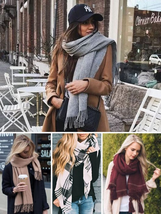 Collage of images of girls wearing outfits where winter scarves stand out