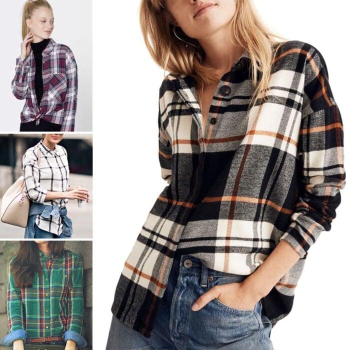 Collage de imágenes de chicas usando outfits donde resaltan las camisas de franela