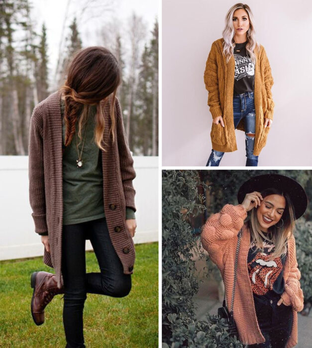 Collage of images of girls wearing outfits where cardigans of different sizes stand out