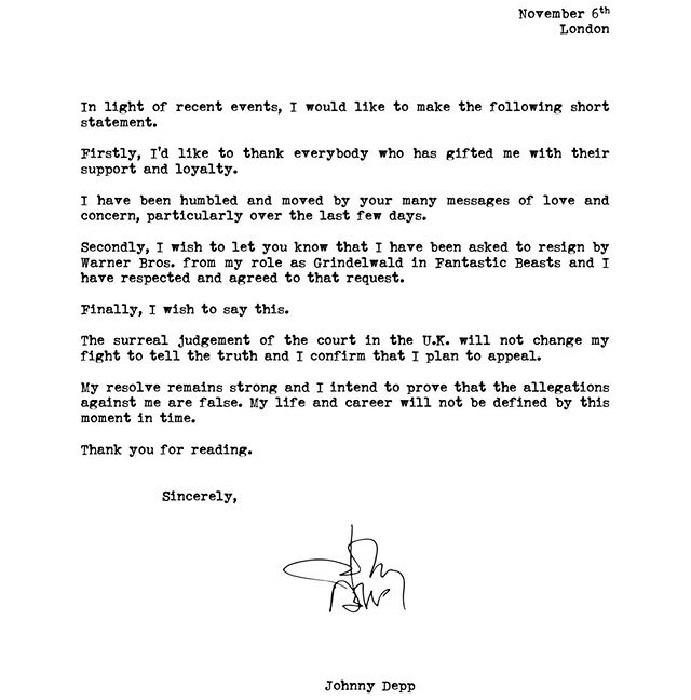 Carta de Johnny Deep a sus fans debido a las polémicas en las que se ha visto envuelto