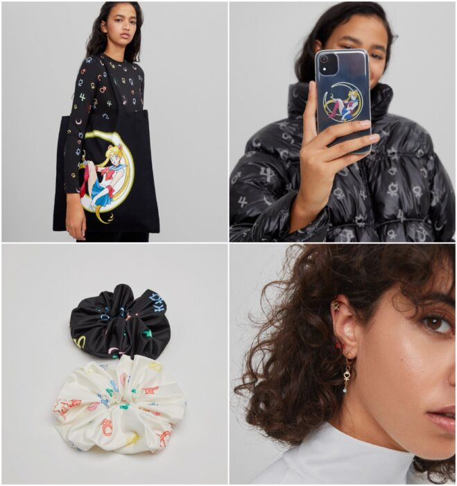 Accessories inspired by Sailro Moons, bag, case, earrings; Bershka collection inspired by Sailor Moon