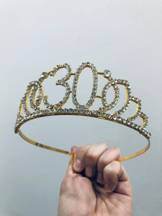 Gold number 30 crown with sparkling stone details