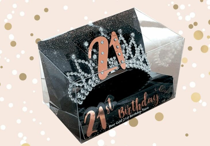 Silver birthday crown with number 21 in rose gold