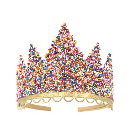 Birthday crown lined with colored candy balls
