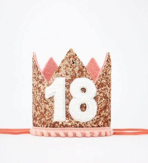 Small pink birthday crown with gold diamond number 18