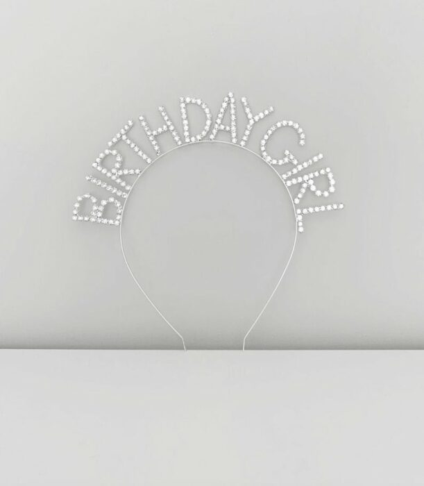 Silver headband that says Birthday Girl