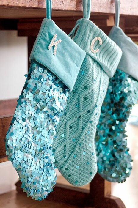 Botas navideñas azul Tiffany con lentejuelas