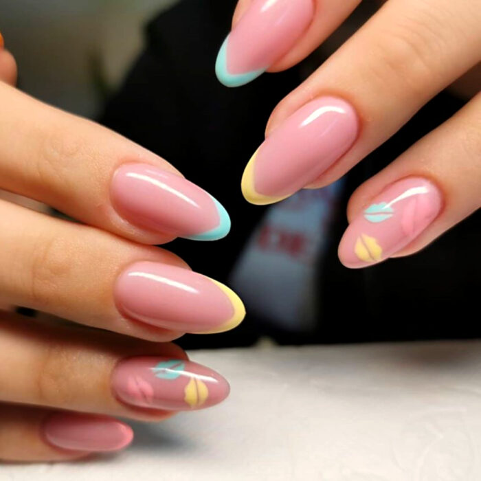 Long Pastel Almond Nails French Manicure Design Lip Kisses Blue Yellow Pink