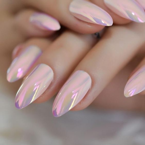 Girl with nails in a metallic eosa color design