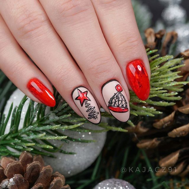 Nails in red base color with Christmas tree design in black; Christmas manicure designs